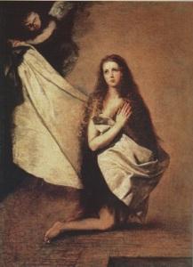 Святая Инесса и ангел, укрывающий ее покрывалом.1641 год.Худ.Хусепе де Рибера